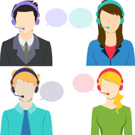 callcenter: Call center avatar icon set with speech bubbles. Illustration