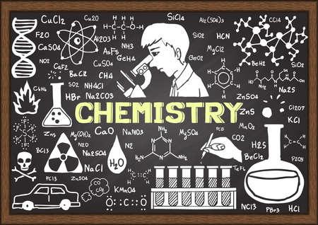 chemistry lab: Chemistry hand drawn on chalkboard. Illustration