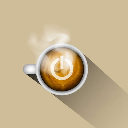 coffee cup vector: Coffee turn on your power Illustration
