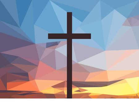 다각형 일몰 배경에 그리스도 십자가입니다.