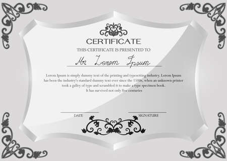 vintage document: Certificate on glass trophy design template.