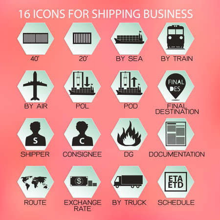 goods train: Flat Icon for shipping business on light coral color background Illustration