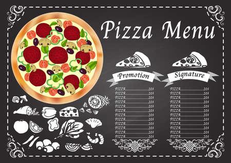 Pizza menu on chalkboard design template