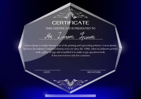 trofeo: Certificado de plantilla de diseño en el trofeo de cristal y fondo oscuro