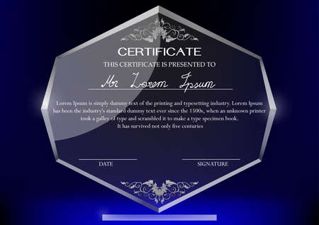 DESIGN: Certificate design template on glass trophy and dark background Illustration