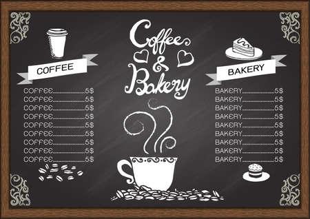 黒板にコーヒーとパンのメニュー。