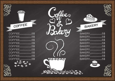 Coffee and baker menu on chalkboard. Illustration