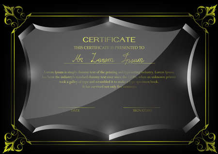 Certificate on glass trophy design template. Black and white or grey.