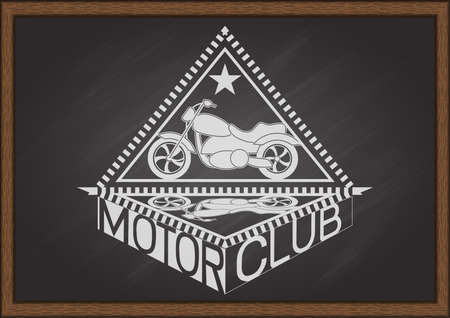 sport logo: Vintage flat looking motorcycle and inside triangle frame with shadow and typography MOTOR CLUB on chalkboard.