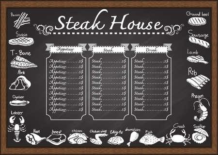 t bone steak: Steak house menu on chalkboard design template.