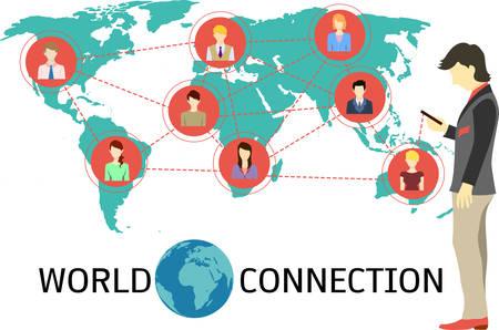 fila de personas: Hombre de negocios la construcci�n de sus conexiones a trav�s de tel�fonos inteligentes