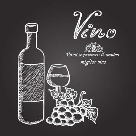 Krijtbord met wijnfles, glas en druiven Stock Illustratie
