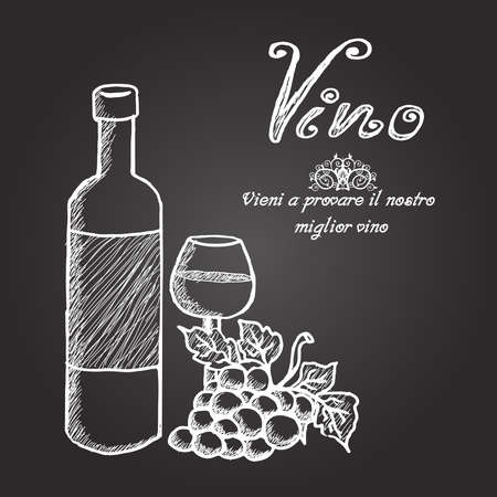 Chalk board with Wine bottle, glass and grape