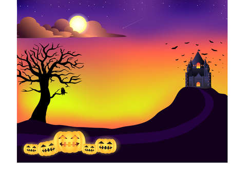 Halloween , castle, tree, sunset sky