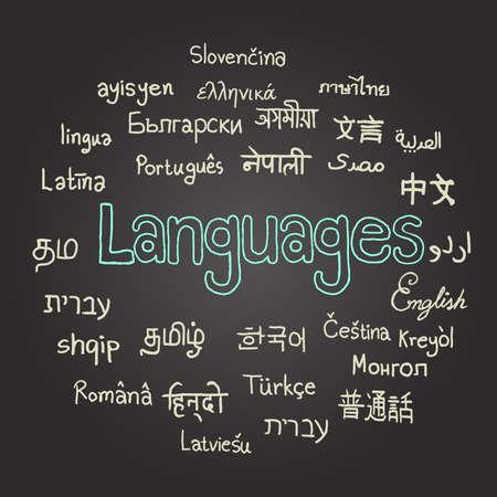 수개 국어, 칠판에 다양한 언어, 손으로 그린.