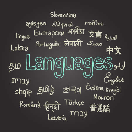 Polyglot, various languages on chalkboard, hand drawn. Illustration