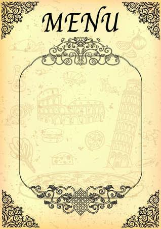 Italian food menu Vector Illustration