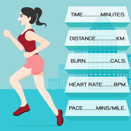 calorie: Woman running in the city with the text boxes showing measurement of time,pace, heart rate, calorie burning and distance. Illustration