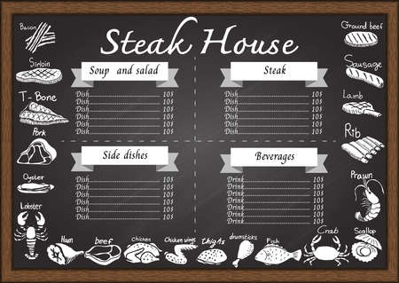 thighs: Meat or steak menu on chalkboard design template consist of bacon,beef,T bone steak,pork, lobster,prawn,lobster,drumstick,fish,crab,rib,lamb,sausage,ground beef, Sirloin,oyster,thighs,chicken and ham, Illustration