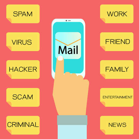 might: Hand using smart phone, checking e mail that might contain spam, virus, hacker, scam, criminal,work,friend,family,entertainment and news.