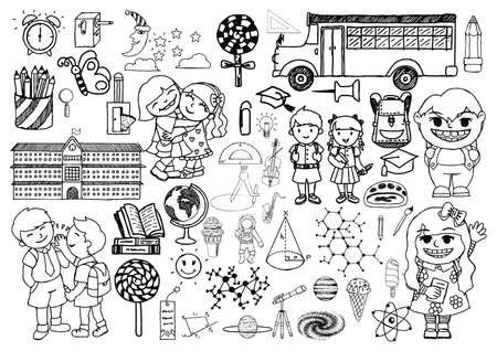 childs: Doodle set of objects from a childs life, black and white outline Illustration