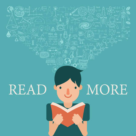 extend: A boy reading a book with knowledge flow into his head. Extend knowledge by reading more concept. Illustration