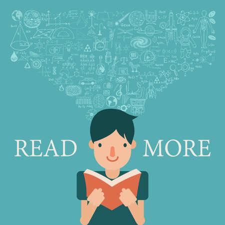 conocimiento: Un niño lee un libro con el flujo de conocimiento en la cabeza. Ampliar los conocimientos mediante la lectura más el concepto.