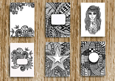 Set of hand drawn zentangle on A4 template for print.