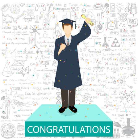Étudiant diplômé debout sur le podium withe les félicitations de mots et de griffonnages d'éducation fond.