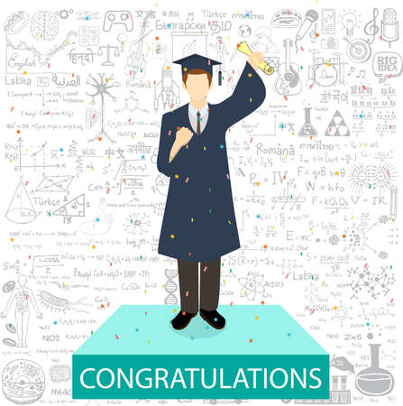 Estudiante graduada de pie en el podio withe la enhorabuena de palabras y garabatos de educación de fondo.