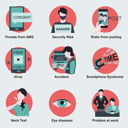 Угрозы или риски, связанные с использованием смартфон, таких как риски для здоровья, рисков безопасности и т.д. Плоские элементы дизайна для инфографики.