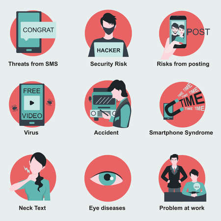 syndrome: Threats or risks from using smartphone such as health risks,security risks and etc. Flat design elements for infographics. Illustration