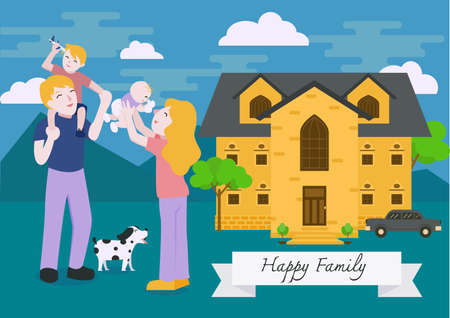 happy family at home: Family portrait. Happy family gesturing with cheerful smile. Home loan banner design.
