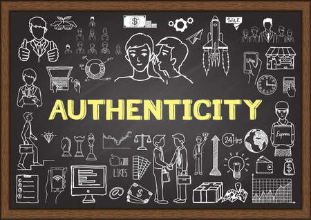 Doodle about authenticity on chalkboard. Customer feedback concept Çizim
