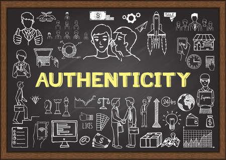 Doodle over authenticiteit op bord. Feedback van klanten begrip