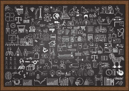information management: Big set of business situation doodles on chalkboard.