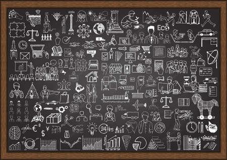 Duży zestaw sytuacji gospodarczej doodles na tablicy. Ilustracje wektorowe