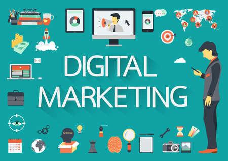 Marketing Digital vector de concepto con la ilustración de iconos planos para presentaciones e informes
