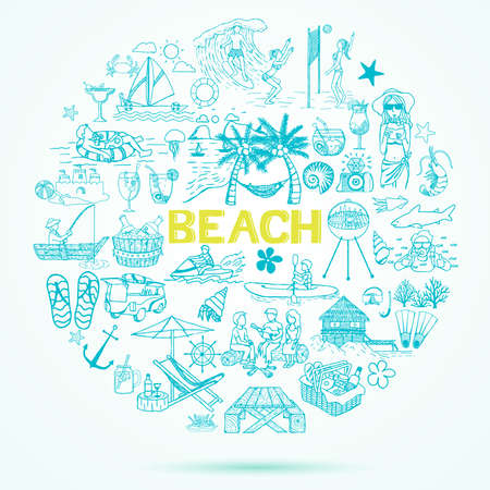 line drawing: Beach theme doodle set.