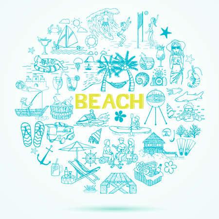 lijntekening: Strand thema doodle ingesteld. Stock Illustratie