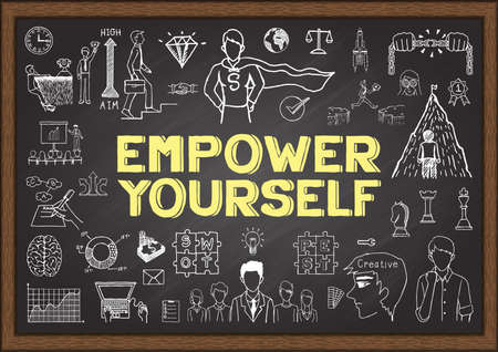 Doodles about empower yourself on chalkboard
