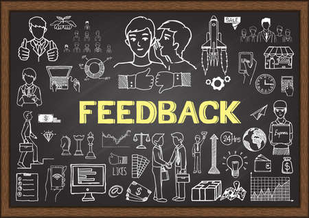 feedback: Doodles about feedback on chalkboard. Illustration
