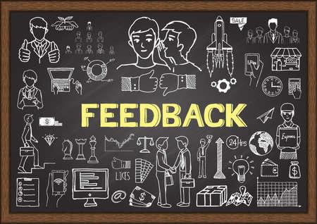 Doodles about feedback on chalkboard. Vettoriali