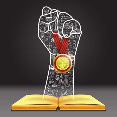 오픈 책을 통해 우승자 메달 들고 손 모양에 낙서. 넌 할 수있어.
