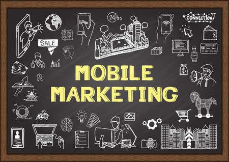 mobile marketing: Doodles about mobile marketing on chalkboard.