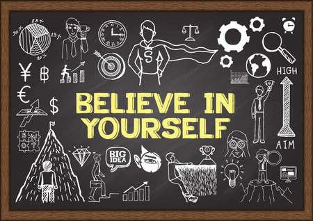 believe: Doodles con la frase Cree en ti mismo en la pizarra.