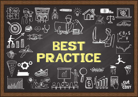 Garabatos de negocio sobre las mejores prácticas en la pizarra. Foto de archivo - 43470079