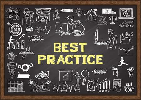 firme: Garabatos de negocio sobre las mejores prácticas en la pizarra.