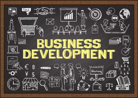 doodle: Business doodles about business development on chalkboard. Illustration