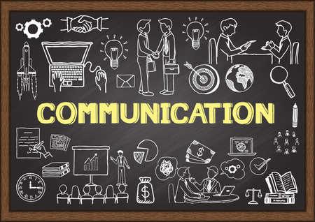 Garabatos de negocio acerca de la comunicación en la pizarra. Vectores
